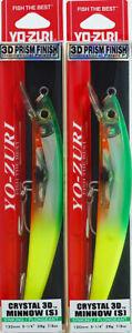 """(LOT OF 2) YO ZURI CRYSTAL 3D MINNOW SINKING F1150-BTCL 5 1/4"""" 7/8 OZ E6220"""