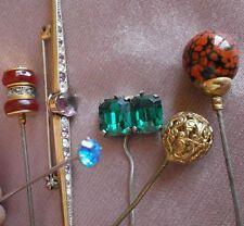 Lot bijoux anciens : 5 épingle s à chapeau boule dorée céramique & broche strass