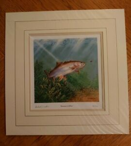 Mounted Michael J Loates Signed Ltd Edition Print Summers Silver Fish Fishing