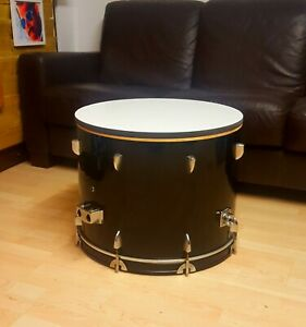 Upcycled Bass Drum Coffee Table with storage black and white **