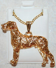Irish Wolfhound Dog 24K Gold Plated Pewter Pendant Chain Necklace Usa Made