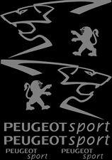 Kit de 8 Sticker Autocollant  Peugeot Sport 206 207 306 307 Gris p02