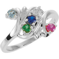 Mother's Birthstone Ring in Sterling Silver 1-7 Stones, Moms Family Jewelry Ring