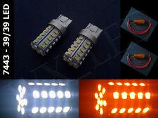2 pcs 7443 7443NA White Amber Switchback 39 / 39 Led Light Bulbs With Resistors