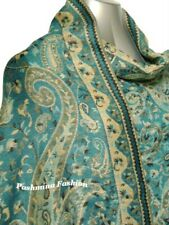 Turquoise Blue Shiny Floral Paisley 100%Pashmina Shawl Scarf Wrap