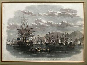 1860 Antique Print; The Combined Fleet in Kowloon, Hong Kong. Opium Wars.  ILN