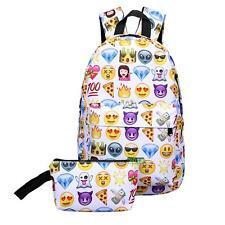 Women Girls Travel Backpack Emoji Smile Shoulder School Book Bag Fashion 2PCS