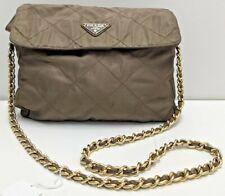 Auth vintage Prada brown nylon tessuto matelasse gold logo chain shoulder bag
