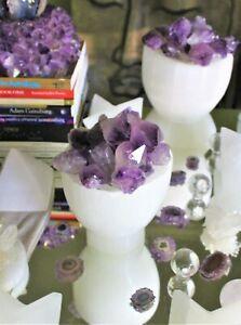 Natural Amethyst Lamp crystal points in Selenite Bowl healing specimen