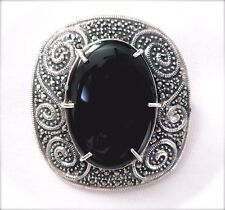 2-in-1 Pin+Pendant Large Onyx Stone Vintage Design Marcasite 925 Sterling Silver