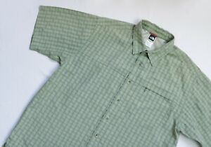 The North Face Outdoor shirt men Short Sleeve top size L Large green CHECK Modal