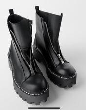 ZARA NEW BLACK TRACK SOLE BOOTS SIZE UK 6 EUR 39