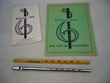 2- Vtg Flageolets Fife Wooden & Metal 1958 Thompson Instruction & Music Booklets