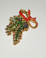 Green, White & Red Enameled Gold Tone Metal Pine Branch Winter Brooch