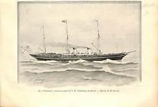 Russian yacht Standart Emperor Nicholas II Romanov RUSSIA GRAVURE FRANCE 1896