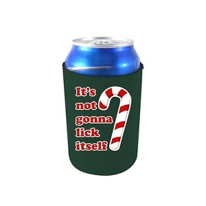 It's Not Gonna Lick Itself Candy Cane Neoprene Collapsible Can Coolie; Christmas