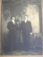 LADY w/EXCEPTIONAL ANTIQUE EDWARDIAN BLACK DRESS WHITE COTTON BLOUSE & MAN