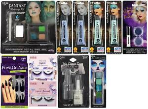 LOT OF 11 - Multi-Brand Halloween Fantasy Makeup Kit   Nails Lashes etc   Bundle