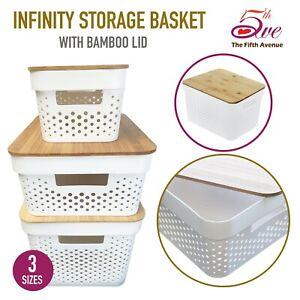 Storage Basket w/ Bamboo Lid Plastic Cube Shelf Home Office Organiser 3 Sizes