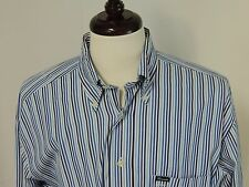 Façonnable Albert Goldberg blue striped long sleeve button front shirt size L
