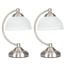 x1 x2 Brushed Chrome Antique Brass & Glass Touch Dimmer Table Lamp Bedside Light