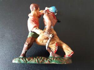 Elastolin Figur - Masse Indianer & Cowboy Kampfgruppe mit Tomahawk u Messer 8cm