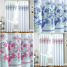 Pencil Pleated Classic Embroidered Foral Curtain Pair Blue Pink Polycoton Drapes