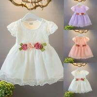 Toddler Baby Kids Girl Ruched Lace Floral Tulle Dress Princess Dresses Clothes