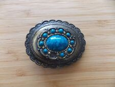 Western Oval Metal Belt Buckle With Turquoise Colored Stones - Native American