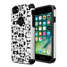 Dual Layer Armor Combat Case for iPhone 7 6s 6 - White Panda