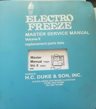 Electro Freeze Master Manual Vol.II Replacement Parts Lists 115621 184954