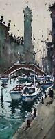 Landscape Painting Watercolour Original Venice Sail Boat Canal Seascape 13x6 in