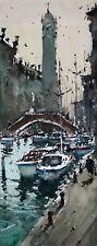 Landscape Painting Watercolour Original Venice SailBoat Canal Seascape 13x6 in