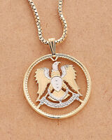 """Syrian Eagle Pendant and Necklace, Hand Cut Syrian Coin,1 1/8"""" in Dia.,( # 900 )"""