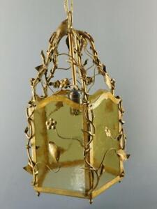 Vintage Italian Tole Ornate Floral 5 Panel Slag Glass Lantern Light Fixture