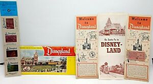 1959 Disneyland Collection Brochures Map Color Slides & Panoramic Postcards