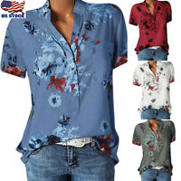 US Women Floral Print V Neck Short Sleeve Shirt Blouse Casual Loose Tops T-Shirt
