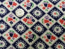 BEST Vintage Feedsack Quilt Fabric 40s Tulips Floral Purple Red WWII Flour Sack