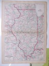 1874 antique map Hand colored ILLINOIS  Asher & Adams  double page