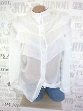 Damen ITALY Chiffon Bluse Tunika Shirt Hemd Volant Gr. 36 38 40 Weiß E27