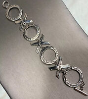 Ladies  Women's  Gift Chunky  Big X O Link Hugs And Kisses Silver Tone Bracelet