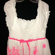 Speechless Girls Size 14 Dress Neon Pink Flowers Smocked Bodice Peasant Look