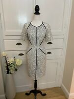 Whistles Grey & White Dress With Zip Back Detail (Size 12)