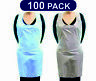 100 X APRONS DISPOSABLE BLUE / WHITE POLYTHENE PLASTIC APRONS SEALED PACKAGING