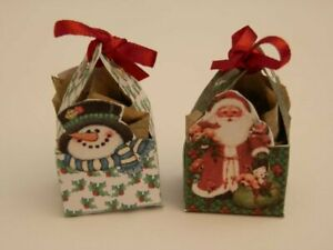 Dolls house : 1/12th Handmade Two christmas  gift boxes  -By Fran