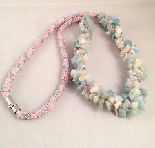 Handmade Amazonite Gemstone Beads Pink & Grey Seed Beads Kumihimo Braid Necklace