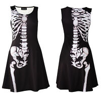 Gothic Anatomy Bones X-Ray Skeleton Ribcage Sleeveless Skater Dress Halloween
