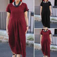 Women Loose Short Sleeve Crew Neck Casual Vintage Dresses Ladies Long Maxi Dress