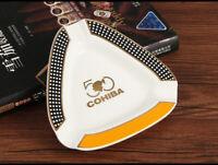 COHIBA White Triangle Ceramic Cigarette Cigar Ashtray Travel Stand Hold 3 Cigars