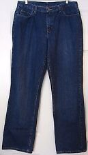 "Womens 14 Tall CHIC Heavy Blue Denim Jeans Plain Pockets 35 x 33 1/2"" Long EUC"